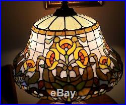 Antique Arts & Crafts Wilkinson Leaded Slag Stained Glass Floral Table Lamp