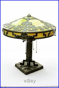 Antique Arts and Crafts Bronze Table Lamp with green slag glass Panels Mission