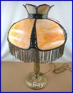 Antique Beaded Fringe Caramel Bent Slag Glass Shade Table Lamp 21 Tall As Found