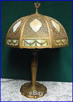 Antique Bent 8 Panel 2 Tone Slag Glass Table Lamp Bradley Hubbard Handel Era