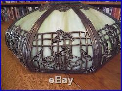 Antique Bent Green Slag Glass Lamp Chicago Empire Co. Miller Bradley & Hubbard