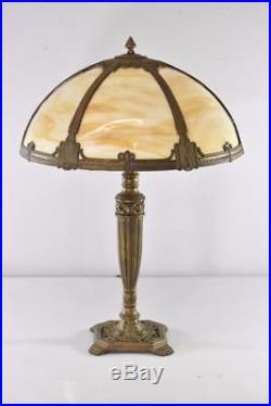 Antique Bent Panel Caramel Slag Glass Table Lamp Paw Feet To Sockets