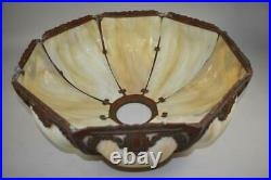 Antique Bent Panel Slag Glass Table Lamp Shade 18