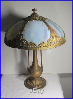 Antique Bent Slag Glass Lamp Pittsburgh Empire Styles 6 panels GREAT BASE