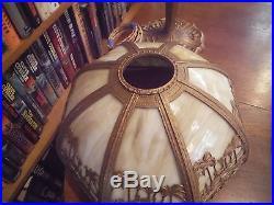 Antique Bent Slag Glass Lamp Probably Miller, Bradley & Hubbard Pittsburgh style