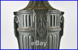 Antique Bent Slag Glass Panel Table Lamp Floral Details Two Sockets