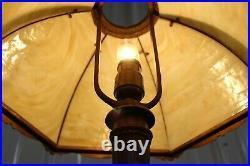 Antique Bent Slag Glass Table Lamp Spyder Web Design 6 Sides Miller Art Nouveau