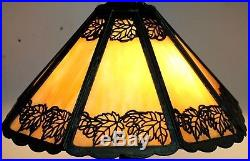 Antique Bradely & Hubbard XL Maple Leaf Slag Glass Lamp. Double Signed Nr