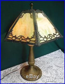 Antique Bradley Hubbard 6 Panel Green Slag Glass Table Lamp Handel Era