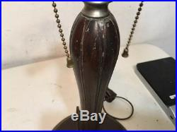 Antique Bradley & Hubbard Lamp Base For Slag Panel Glass Shade 3 Socket Cluster