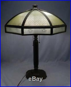 Antique Bradley & Hubbard Lamp16 Panel Reverse Painted GlassMissionArtsCraft