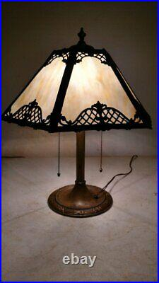 Antique Bradley and Hubbard lamp withslag or stained glass lamp Handel era