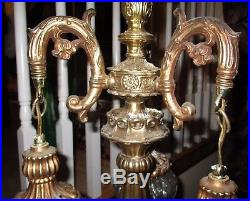 Antique Brass Chandelier Crystal Real Carved Glass Lantern Lamp Victorian Shade