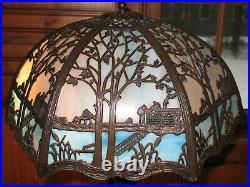 Antique Bronze Blue/Cream Slag Glass Ornate Shade Table Accent Lamp Refurbish