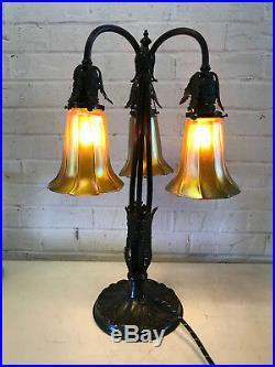 Antique Bronze Table Lamp with 3 Signed Quezal Art Glass Aurene Iridescent Shades