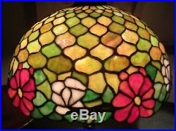 Antique Chicago Mosaic Leaded Glass Lamp Opalescent Floral 18W x 25.5H