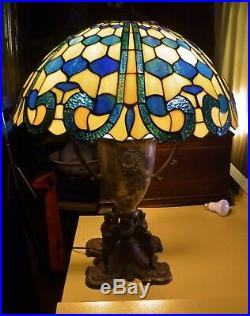 Antique Classical Urn & Griffin Motif Lamp Base with 20 Stained Glass Shade