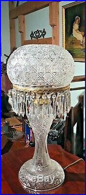 Antique Cut Glass 26 Tall Table Lamp 35 Lusters Prisms Excellent