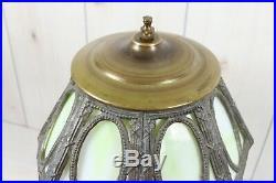 Antique Deco Cherub Lamp Leaded Stained Slag Glass Table Desk Parlor Figural