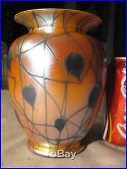 Antique Durand Blue & Orange Heart Leaf & Vine Plant Art Glass Lamp Table Vase