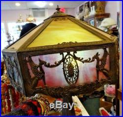 Antique Elegant All Original Glass Miller Leaded Glass Lamp 23 X 15