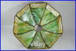 Antique Handel Bent Slag Glass Panel Table Lamp Hubbell Sockets Grape Leaf