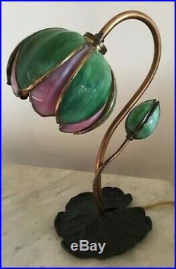 Antique Handel Pond Lily Tulip Signed Art Glass Shade, Table / Desk Lamp