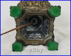 Antique Hurricane 3 Way Hand Painted GWTW Banquet Parlor Globe Table Lamp Brass