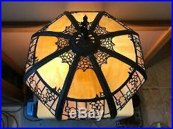 Antique Immaculate Empire of Chicago Lamp Colorfull 16 Panel Slag Glass Shade