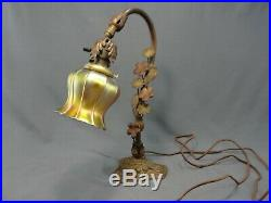 Antique Iron Desk Table Lamp Quezal Glass Pulled Feather Squash Blossom Shade