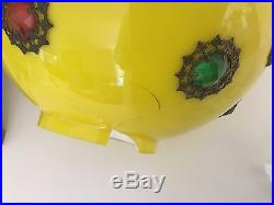 Antique Jeweled GWTW Lamp Hurricane Glass Globe Victorian Shade