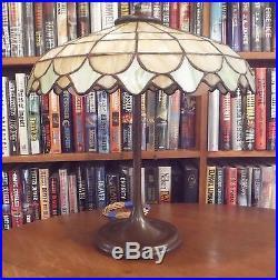Antique Leaded Glass Lamp Unique Art Glass Co. Handel Tiffany Bradley & Hubbard