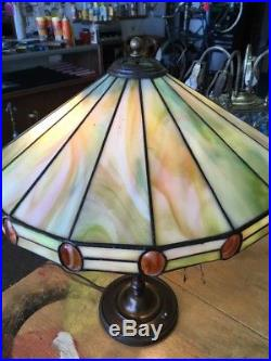 Antique Leaded Glass Table Lamp Duffner Or Wilkinson