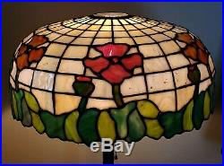 Antique Leaded Slag Stained Glass Floral Table Lamp Handel Duffner Hubbard Era