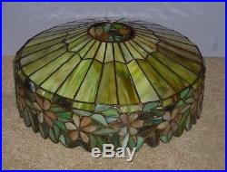 Antique Leaded Stained Slag Glass Arts & Crafts Unique Handel Lamp Tiffany Era
