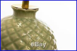 Antique Mid 20th Century Pair of Celadon Green Ceramic Table Lamps