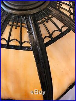 Antique Miller Slag Glass Table Lamp 8 Panel