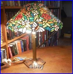 Antique Miller leaded glass lamp Bradley & Hubbard Empire Handel