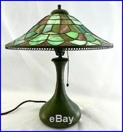 Antique Pairpoint Signed Vase-Shaped Lamp + Leaded Stained Glass Shade withFinial