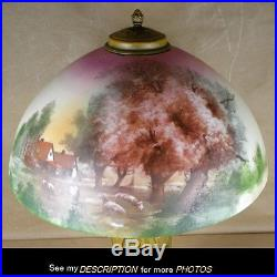 Antique Pittsburgh Lamp Brass Glass Co Obverse Painted Landscape w Sheep