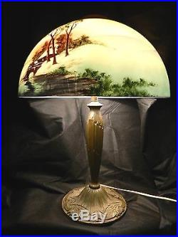Antique Pittsburgh P. L. B. & G. Co. Obverse Country Painted Glass Shade Brass Lamp