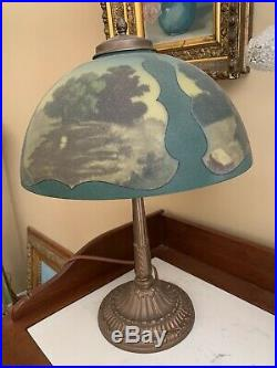 Antique Pittsburgh Reverse Painted Shade Desk Lamp Landscape Ice Chip 20 X 14