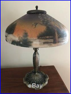 Antique Pittsburgh Reverse Painted Winter Pine Tree Shade Desk Lamp
