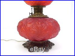 Antique Red Glass Gone With The Wind converted Oil Lamp, aka a vintage GWTW light