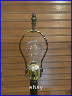 Antique Reproduction Tiffany Style Stained Glass TABLE LAMP Blue Wisteria