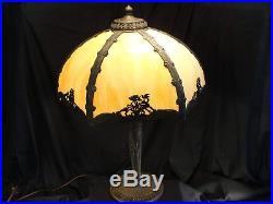 Antique SALEM BROTHERS #2 Six Panel Caramel Slag Glass Table Lamp Metalwork
