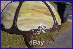 Antique Sign Miller Slag Glass Table Lamp, 6 Curved Glass Panel