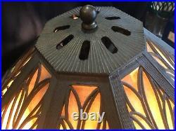Antique Signed Charles Parker Slag Glass Lamp Bradley & Hubbard Era for Resto