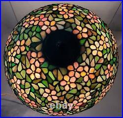 Antique Signed Handel Floral Leaded Glass Lamp Shade & Bronze Base