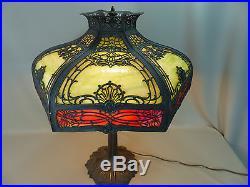 Antique Signed Miller Bent Slag Glass Panel Art Nouveau Lamp Handel B&H Era
